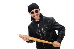 Agresywny mężczyzna z kijem bejsbolowym na bielu Fotografia Royalty Free