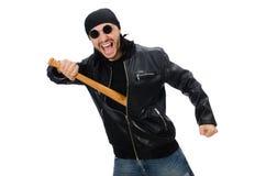 Agresywny mężczyzna z kijem bejsbolowym na bielu Obrazy Royalty Free