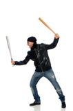 Agresywny mężczyzna z kijem bejsbolowym na bielu Obrazy Stock