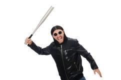 Agresywny mężczyzna z kijem bejsbolowym na bielu Zdjęcie Royalty Free