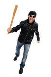 Agresywny mężczyzna z kijem bejsbolowym na bielu Obraz Royalty Free