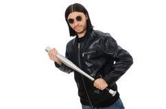 Agresywny mężczyzna z kijem bejsbolowym na bielu Obraz Stock