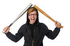 Agresywny mężczyzna z kijem bejsbolowym odizolowywającym na bielu Obraz Royalty Free