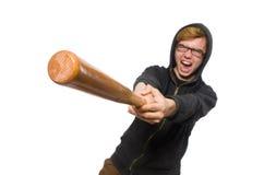 Agresywny mężczyzna z kijem bejsbolowym odizolowywającym na bielu Obrazy Stock