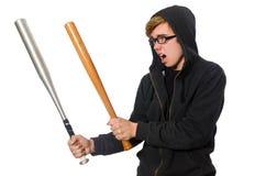 Agresywny mężczyzna z kijem bejsbolowym odizolowywającym na bielu Zdjęcie Stock
