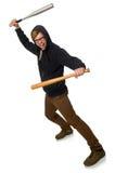 Agresywny mężczyzna z kijem bejsbolowym odizolowywającym na bielu Zdjęcia Royalty Free