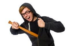 Agresywny mężczyzna z kijem bejsbolowym odizolowywającym na bielu Zdjęcie Royalty Free