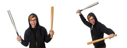 Agresywny mężczyzna z kijem bejsbolowym odizolowywającym na bielu Obrazy Royalty Free