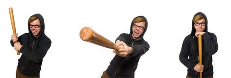Agresywny mężczyzna z kijem bejsbolowym odizolowywającym na bielu Zdjęcia Stock