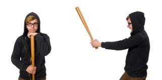 Agresywny mężczyzna z kijem bejsbolowym odizolowywającym na bielu Fotografia Stock