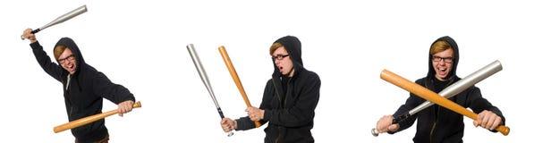 Agresywny mężczyzna z kijem bejsbolowym odizolowywającym na bielu Fotografia Royalty Free