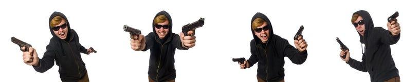 Agresywny mężczyzna z pistoletem odizolowywającym na bielu Zdjęcia Stock