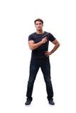 Agresywny młody człowiek z pistoletem odizolowywającym na bielu Fotografia Royalty Free