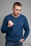 Agresywny, sfrustowany portreta mężczyzna, Fotografia Stock