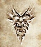 agresywny sztuki maski potwora nakreślenia tatuaż ilustracji
