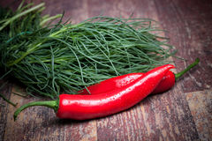 Agretti And Chili Peppers Stock Photo