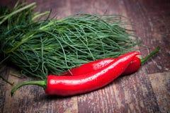 Agretti I Chili pieprze Zdjęcie Stock