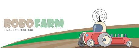 Agribot que trabalha no campo Fotografia de Stock Royalty Free