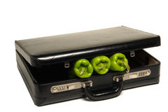 Agribusiness with Green Peppers inside a Briefcase Royalty Free Stock Photos