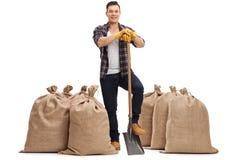 Agricoltore allegro con una pala che sta fra i sacchi della tela da imballaggio Fotografia Stock Libera da Diritti