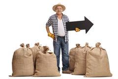 Agricoltore anziano che sta fra i sacchi della tela da imballaggio e che tiene freccia p Fotografie Stock