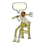 agricoltore anziano del fumetto che si appoggia recinto con il fumetto Immagini Stock