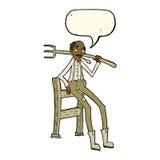 agricoltore anziano del fumetto che si appoggia recinto con il fumetto Immagini Stock Libere da Diritti