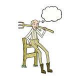 agricoltore anziano del fumetto che si appoggia recinto con la bolla di pensiero Immagini Stock