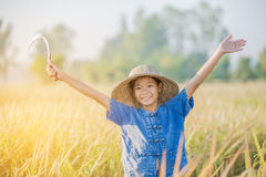 Agricoltore asiatico dei bambini sul giacimento giallo del riso Fotografie Stock Libere da Diritti