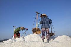 Agricoltore asiatico, piantagione del sale, salina vietnamita Fotografie Stock Libere da Diritti