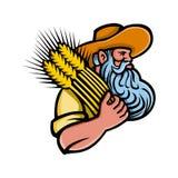 Agricoltore With Beard Mascot del grano del grano Fotografia Stock Libera da Diritti