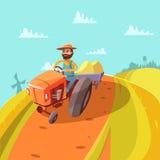Agricoltore Cartoon Background illustrazione vettoriale
