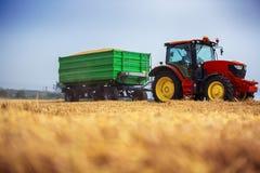Agricoltore che conduce trattore agricolo e rimorchio in pieno di grano Fotografie Stock Libere da Diritti