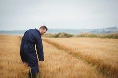 Agricoltore che controlla i suoi raccolti Immagine Stock Libera da Diritti