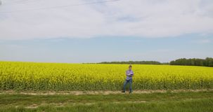 agricoltore che esamina il settore agricolo archivi video