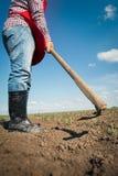 Agricoltore che lavora nel campo di grano Fotografia Stock Libera da Diritti