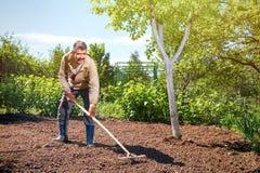 Agricoltore che lavora nel giardino per mezzo di un rastrello che livella il pl Fotografia Stock Libera da Diritti