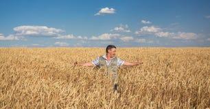 Agricoltore che sta in un giacimento di grano Fotografia Stock