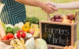 Agricoltore che stringe la sua mano dei clienti Fotografie Stock