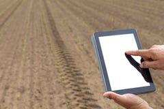 Agricoltore che utilizza il computer della compressa nel campo coltivato agricolo W Immagine Stock Libera da Diritti