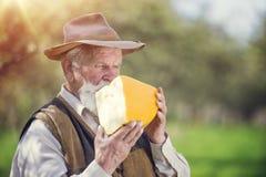 Agricoltore con formaggio Fotografie Stock