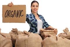 Agricoltore con i sacchi della tela da imballaggio ed il segno del cartone Immagine Stock