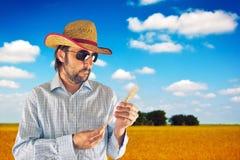 Agricoltore con il cappello di paglia del cowboy nel giacimento di grano Immagini Stock Libere da Diritti