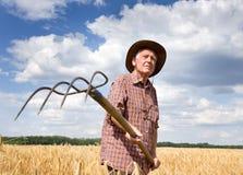 Agricoltore con il forcone da fieno Fotografia Stock Libera da Diritti