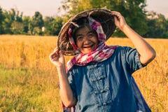 Agricoltore con il raccolto del riso, agricoltore di concetto Immagine Stock