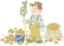Agricoltore con il suo raccolto della patata illustrazione di stock