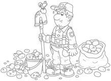 Agricoltore con il suo raccolto della patata illustrazione vettoriale