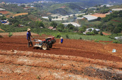 Agricoltore con il trattore sul campo Fotografia Stock
