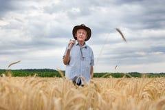 Agricoltore con la forcella nel campo dell'orzo Fotografie Stock Libere da Diritti