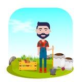 Agricoltore con la pala, le verdure ed i fertilizzanti Illustrazione di vettore Fotografia Stock